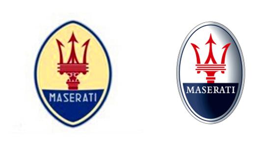左最初的玛莎拉蒂logo 右现的在玛莎拉蒂logo
