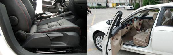 从空间实用角度来看,A级车的速腾明显吃亏不少,超大空间是荣威750的杀手锏, 2849mm的超长轴距在B级车市场中绝对少见,后排座椅的宽敞度堪称奢侈,即使翘起二郎腿也不会有丝毫局促感。就这点而言,在同级车中尚无人能出其右,与A级车相比更是遥遥领先,优势相当明显,对于喜好大车的中国消费者来说无疑具有相当大的诱惑力。   奢华的配置是速腾1.